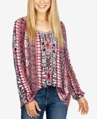 Lucky Brand Printed Scoop Neck Top Persian Red