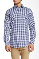 14Th And Union Alpha Long Sleeve Printed Trim Fit Shirt Blue