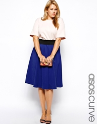 Asos Curve Exclusive Circular Skirt In Texture Cobalt