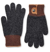 Oliver Spencer Cross Country Leather Tried Wool Blend Gloves Charcoal
