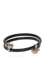 Alexander Mcqueen Skull Leather Covered Wrap Bracelet