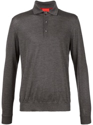 Isaia Button Collar Sweater Grey