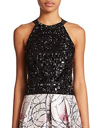 Phoebe Couture Beaded Halter Top Black