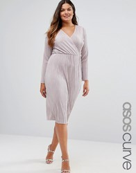 Asos Curve Plisse Pleated Pencil Dress With Wrap Detail Taupe Grey