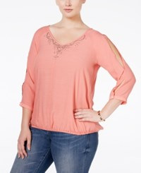 Ny Collection Plus Size Cold Shoulder Blouson Top Jet Coral