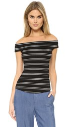 Free People Yacht Club Stripe Tee Black