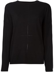Steffen Schraut Open Knit Detail Jumper Black