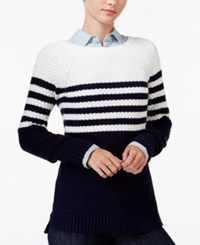 Maison Jules Striped Cross Stitch Sweater Only At Macy's Egret Combo