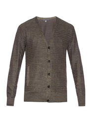 John Varvatos Micro Weave Silk And Cotton Blend Cardigan