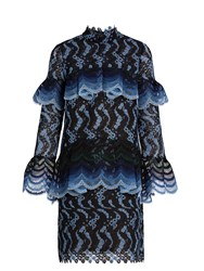 Erdem Lyndell Scallop Edged Guipure Lace Dress Blue Multi