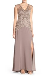 Women's Sue Wong Embellished Mesh And Crepe A Line Gown