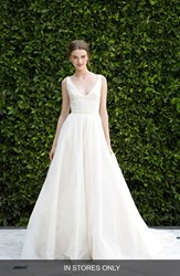 Women's Bliss Monique Lhuillier Scoop Neck Ruched Waist Lace And Tulle Ballgown In Stores Only