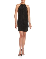Jessica Simpson Knit Mock Wrap Shimmer Dress Black Gold