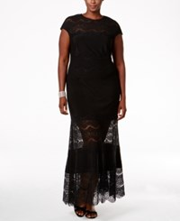 Betsy And Adam Plus Size Lace Panel Dress Black