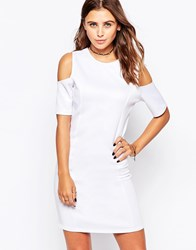 Motel Sun Dress With Cold Shoulder White