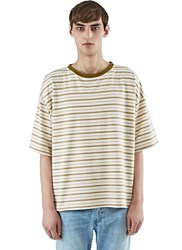 Saint Laurent Striped Boxy T Shirt Neutrals