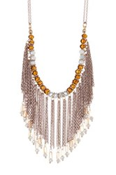 Free Press Beaded Chain Fringe Statement Necklace Metallic