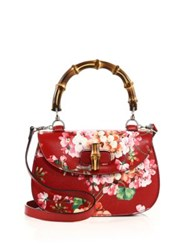 Gucci Bamboo Classic Blooms Top Handle Bag Red Multi