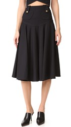 Derek Lam Flared Midi Skirt Black