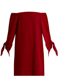 Tibi Off The Shoulder Tie Cuff Crepe Dress Red