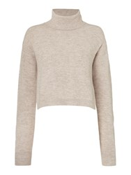 Bardot Long Sleeved Roll Neck Jumper With Shirt Beige