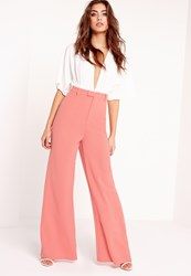 Missguided Tall Premium Crepe Wide Leg Trousers Pink Beige