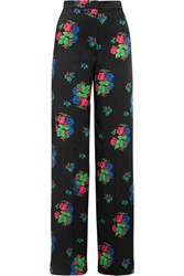 Duro Olowu Floral Print Silk Satin Wide Leg Pants Black