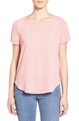 Pleione Women's Pleat Back Woven Print Top White Pink