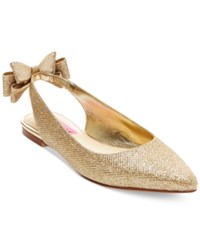 Betsey Johnson Ann Slingback Bow Flats Women's Shoes Gold Sparkle