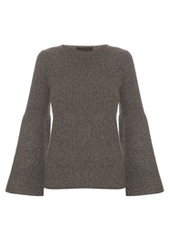 The Row Atilia Cashmere Flared Sleeve Sweater Dark Grey