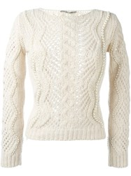 Ermanno Scervino Cable Knit Pearled Jumper Nude And Neutrals