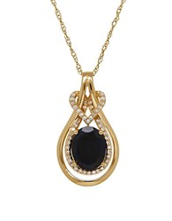 Lord And Taylor 14K Yellow Gold Black Onyx Pendant