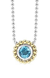 Women's Lagos Stone Pendant Necklace Blue Topaz