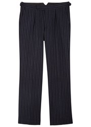 Oliver Spencer Cavalry Pinstriped Wool Blend Trousers Navy