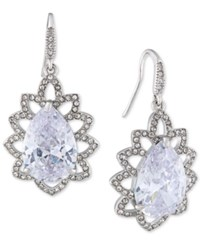 Carolee Silver Tone Crystal Teardrop Ornate Drop Earrings