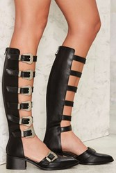 Nasty Gal Up To No Good Cutout Leather Boot Black
