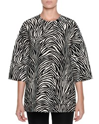 Marni Half Sleeve Zebra Print Calf Hair Jacket Black White