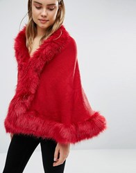 Qed London Cape With Faux Fur Trim Wine Red
