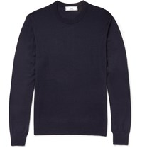 Ami Alexandre Mattiussi Slim Fit Merino Wool Sweater Blue