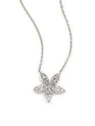 Kwiat Sunburst Diamond And 18K White Gold Medium Flower Pendant Necklace White Diamond