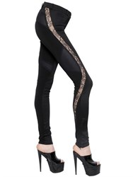 Versace Lace Insert Stretch Jersey And Denim Pants