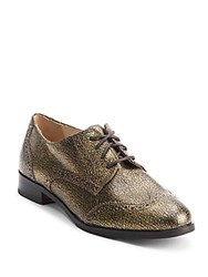 Cole Haan Cracked Leather Wingtip Oxford Shoes Soft Gold