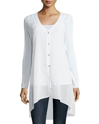 Neiman Marcus V Neck High Low Tunic White