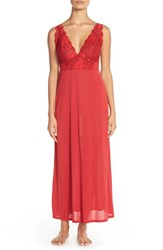 Women's Natori 'Aphrodite Zen' Floral Lace Trim Nightgown Bed Red Bed Red