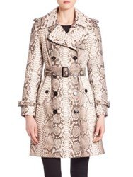 The Fur Salon Python Trench Coat Natural