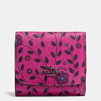 Coach Small Wallet In Willow Floral Print Coated Canvas Dark Gunmetal Cerise Multi