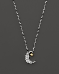 Bloomingdale's Diamond Moon And Star Pendant Necklace In 14K White And Yellow Gold .08 Ct. T.W.