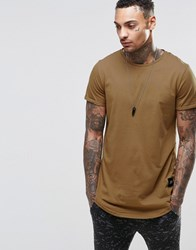 Sixth June T Shirt With Curved Hem Camel Tan