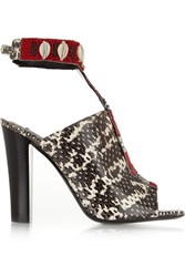 Altuzarra Zephyr Embellished Watersnake Sandals Animal Print