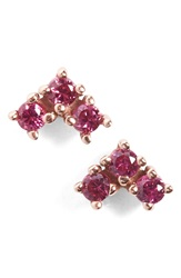 Anna Sheffield 'Bea' Ruby Arrow Stud Earrings Rose Ruby